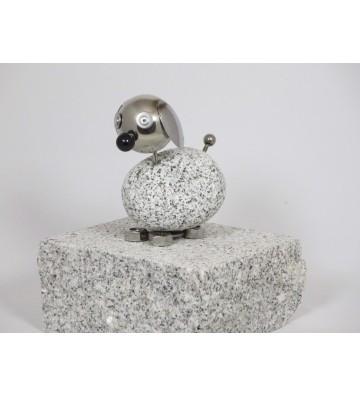 Wackelkopfhund ca. 14cm hoch aus Granit und Edelstahl