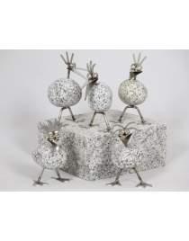 Set: 5 Steinvogel Küken stehend je ca. 13cm hoch aus Granit und Edelstahl