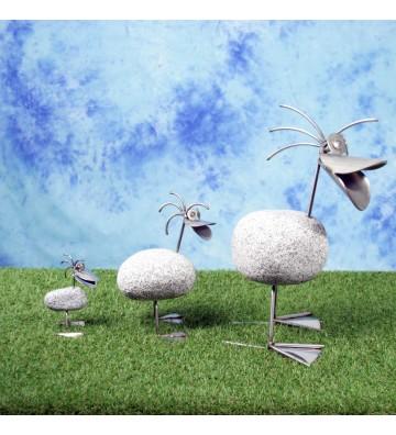 Entenfamilie bestehend aus Entenmama und 2 Entenkindern aus Granit und Edelstahl