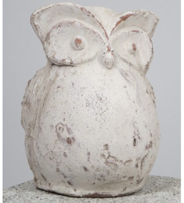 Eule Guffo aus Keramik cremefarben antik ca. 17cm hoch