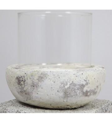 Windlicht Filano cremefarben antik aus Keramik und Glas ca. 17cm hoch