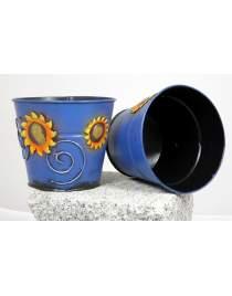 Blumenübertopf aus Metall blau mit Sonnenblumen ca. 11cm hoch Handarbeit