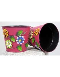 Blumenübertopf aus Metall rosa mit Blumen ca. 11 cm hoch Handarbeit
