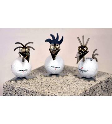 Set: 3 x Birdie mit Golfball weiß ca. 8,5cm hoch