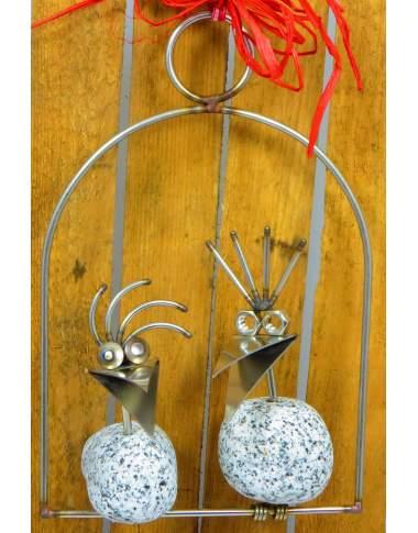 Steinvogel Pärchen SV 330 ca. 25cm zum Hängen aus Granit und Edelstahl Original Gebrüder Lomprich
