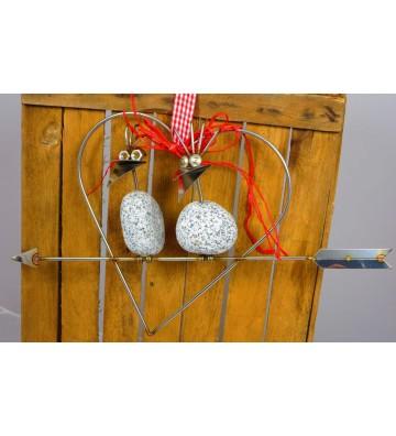 Steinvogel Pärchen SV Herz ca. 24cm zum Hängen aus Granit und Edelstahl Original Gebrüder Lomprich