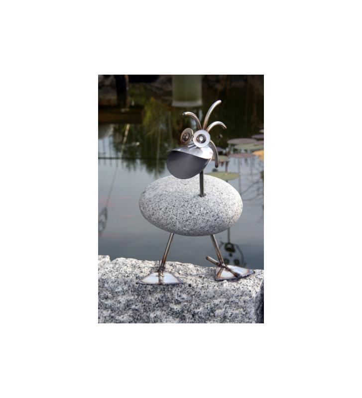 Ente ca. 32cm hoch aus Granit und Edelstahl Original Gebrüder Lomprich