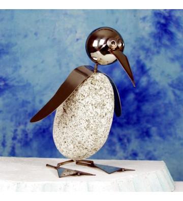 Pinguin L ca. 35cm hoch aus Granit und Edelstahl Original Gebrüder Lomprich
