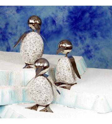 Pinguin M ca. 20cm hoch aus Granit und Edelstahl Original Gebrüder Lomprich