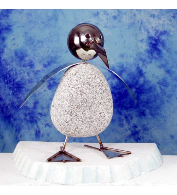 Pinguin XL ca. 45cm hoch aus Granit und Edelstahl Original Gebrüder Lomprich