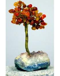 Edelsteinbäumchen ca. 20cm hoch Carneol auf Amethystsockel
