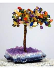 Edelsteinbäumchen ca. 20cm hoch Multicolor auf Amethystsockel