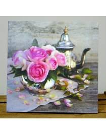 """Bild """"Rosenstrauß mit Teekanne"""" auf Holzrahmen ca. 20cm x 20cm"""