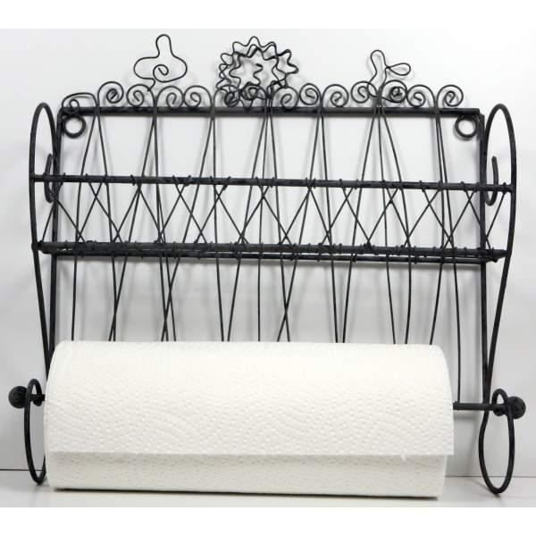 Wandregal mit Küchenrollenhalter ca. 33cm hoch aus Eisen antikfarben ...