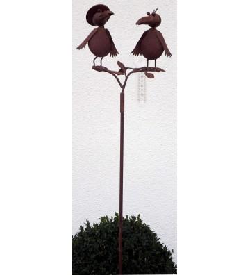 Regenmesser Vogelduo aus Metall, braun ca. 125 cm