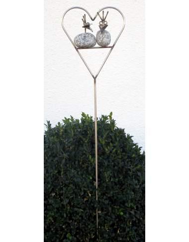 Steinvogel Pärchen im Herz am Stab ca. 93cm aus Granit und Edelstahl