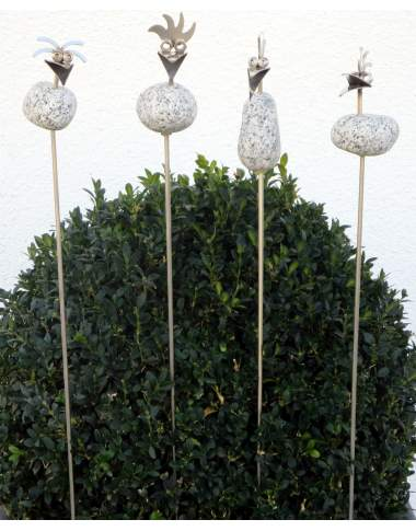 Steinvogel Küken ca.10cm als Gartenstecker ca. 68cm aus Granit und Edelstahl