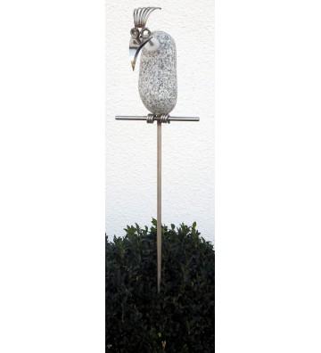 Gartenstecker Steinvogel Geier ca. 110cm hoch aus Granit und Edelstahl