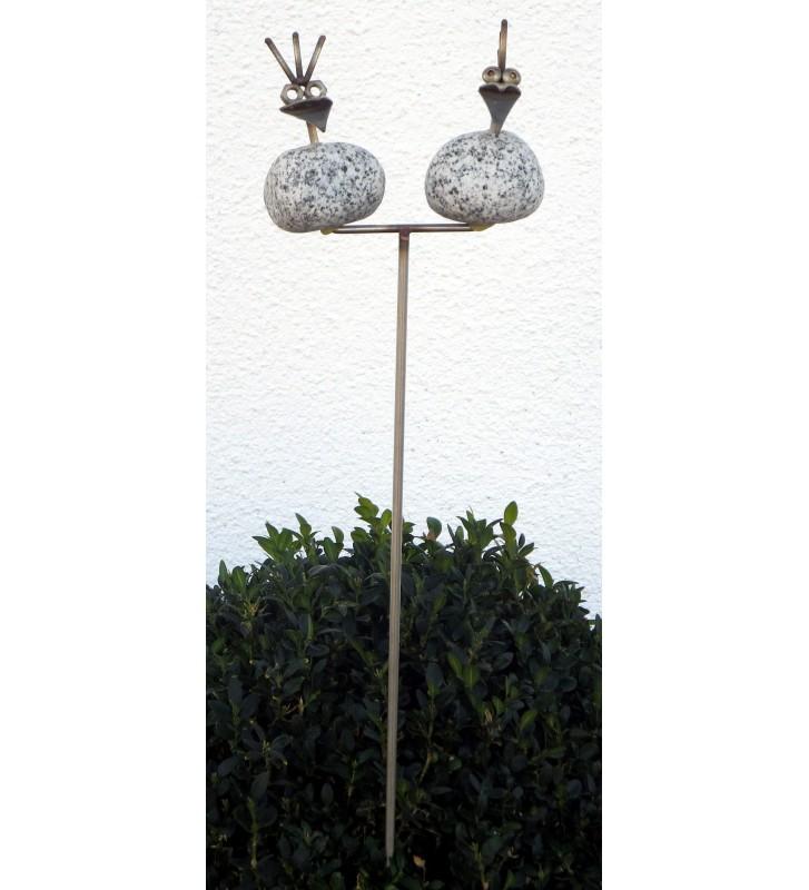 Gartenstecker Steinvogelpärchen ca. 85cm hoch aus Granit und Edelstahl