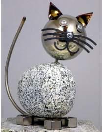 Wackelkopfkatze ca. 20 cm hoch aus Granit und Edelstahl