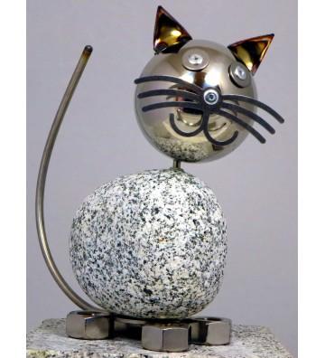 Wackelkopfkatze groß ca. 20 cm hoch aus Granit und Edelstahl