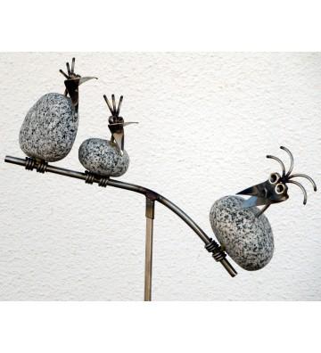 Gartenstecker Wippe mit 3 Steinvögel aus Granit und Edelstahl ca. 110cm hoch