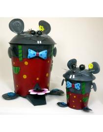Set Tretabfalleimer und Tischabfalleimer Maus aus Metall Handarbeit