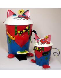 Set Tretabfalleimer und Tischabfalleimer Katze bunt aus Metall Handarbeit