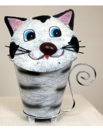 Tischabfalleimer Katze weiss/schwarz aus Metall ca. 22 cm hoch Handarbeit