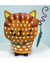 Blumenübertopf aus Metall Katze orange ca. 16 cm hoch Handarbeit