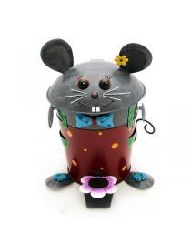 Tretabfalleimer Maus aus Metall ca. 46 cm hoch Handarbeit