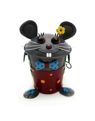Tischabfalleimer Maus aus Metall ca. 23 cm hoch Handarbeit