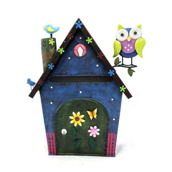 Briefkasten aus metall haus mit eule blau bunt ca 53 cm for Haus aus metall