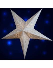 Leuchtstern Batik weis bestickt ca. 60 cm mit Magnetverschluss