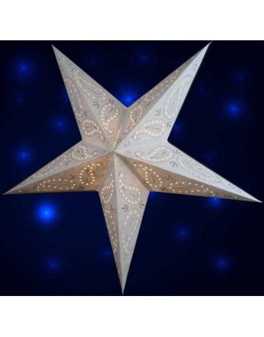 Leuchtstern Ananti Batik weiß 5 Zacken bestickt ca. 60 cm mit Magnetverschluss