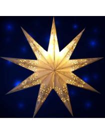 Leuchtstern Baby Venya 9 Zacken weiß/silber Glitter 40 cm mit Magnetverschluss
