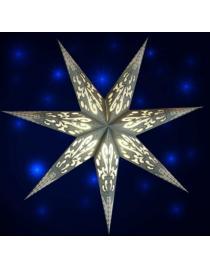 Leuchtstern Curves grau/weiß/silber Glitter 7 Zacken ca. 60 cm mit Magnetverschluss