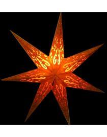Leuchtstern Curves orange/gold Glitter 7 Zacken ca. 60 cm mit Magnetverschluss
