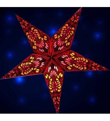 Leuchtstern Ganesha rot 5 Zacken mit Magnetverschluss