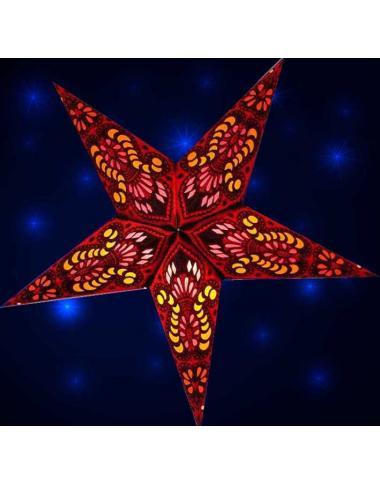 Leuchtstern Ganesha rot 5 Zacken mit Magnetverschluss, ca. 60 cm