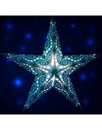 Leuchtstern Mandala türkis/glitter 5 Zacken mit Magnetverschluss