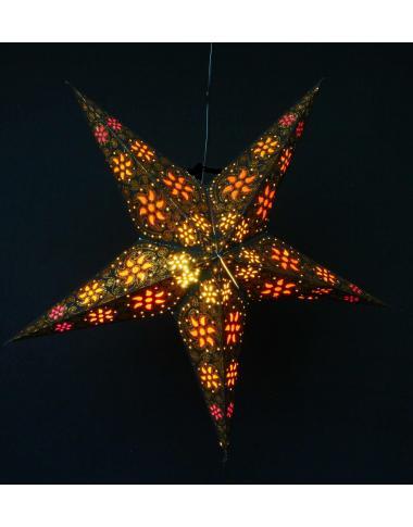 Leuchtstern Madras schwarz / Gold glitter 5 Zacken ca. 60 cm mit Magnetverschluss