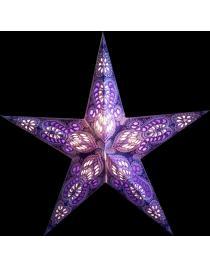 Leuchtstern Ganesha lila/glitter 5 Zacken mit Magnetverschluss