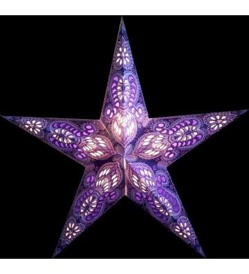 Leuchtstern Ganesha lila/glitter 5 Zacken mit Magnetverschluss, ca. 60 cm