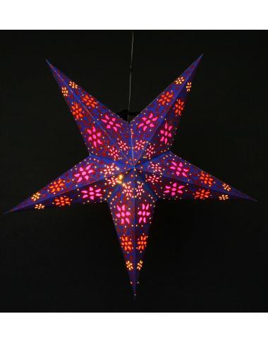 Leuchtstern Madras blau/glitter 5 Zacken ca. 60 cm mit Magnetverschluss