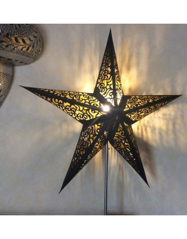 Leuchtstern Kala schwarz -  Goldglitter 60 cm 5 Zacken mit Magnetverschluss
