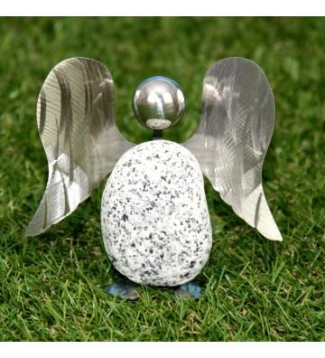Steinengel ca. 23cm hoch aus Granit und Edelstahl