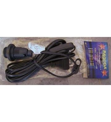 Stromkabel für Leuchtsterne schwarz, E14 , Kabellänge ca. 4 Meter mit Schalter