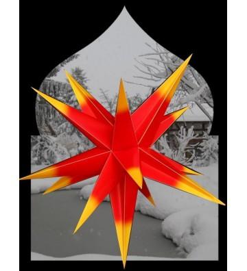 Leuchtstern für Außen XL rot/gelb ca. 55 cm, 15 Zacken,  inkl. Außenkabel 4 Meter