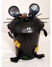 Tischabfalleimer Maus mit Blumen aus Metall ca. 22 cm hoch Handarbeit
